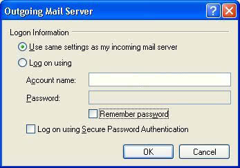 Outlook Express SMTP Authentication