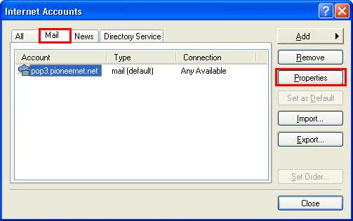 Outlook Express Account Properties