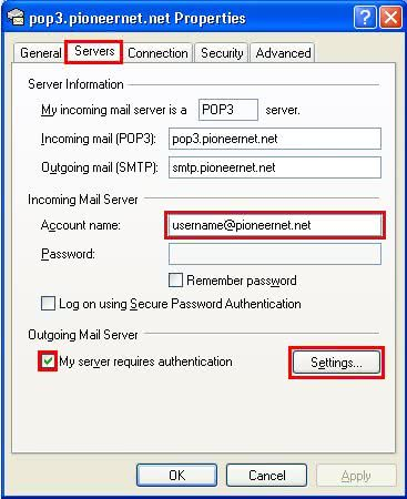 Outlook Express SMTP Server Settings